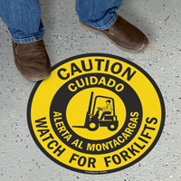 Bilingual Caution Forklift Traffic Slipsafe™ Floor Sign