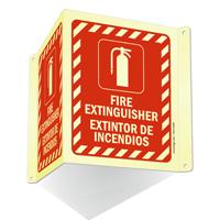Bilingual Projecting Door Fire Extinguisher Sign