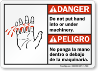 Bilingual Do Not Put Hand Under Machinery Sign