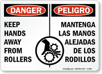 Bilingual Danger Keep Hands Away From Rollers Sign