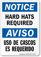 Bilingual Hard Hats Required Sign