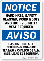 Bilingual Hard Hats Safety Glasses Required Sign