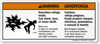 Bilingual Hazardous Voltage Mr. Ouch Warning Sign