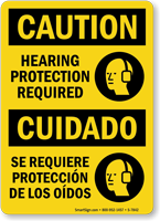 Bilingual OSHA Caution Hearing Protection Required Sign