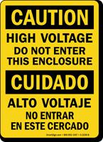 High Voltage Do Not Enter Enclosure Bilingual Sign