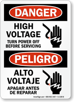 High Voltage, Turn Power Off Before Servicing Sign