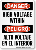 Danger Bilingual High Voltage Within Sign