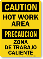 Bilingual Hot Work Area Caution Sign