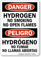 Bilingual Hydrogen No Smoking Open Flames Sign