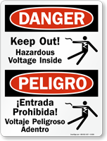 Bilingual Keep Out Hazardous Voltage Inside Sign