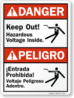 Bilingual ANSI Keep Out Hazardous Voltage Inside Sign