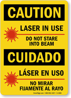 Bilingual Laser In Use Do Not Stare Sign