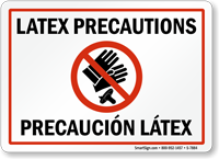 bilingual Latex Precautions Sign