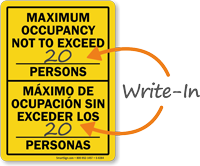 Bilingual Maximum Occupancy Not To Exceed Sign