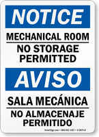 Mechanical Room, No Storage Permitted Bilingual Sign