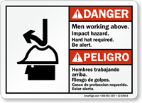 Bilingual Men Working Above Impact Hazard Sign