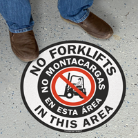 No Forklifts In This Area Bilingual Floor Sign