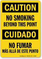 No Smoking Beyond This Point Bilingual Caution Sign