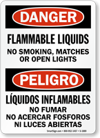Flammable Liquids No Smoking Sign, Bilingual Danger