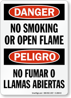 No Smoking Or Open Flame Danger Bilingual Sign