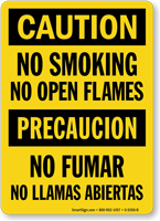 Bilingual No Smoking No Open Flames Sign