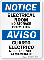 Notice Electrical Room Storage Bilingual Sign