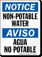 Non-Potable Water/ Agua No Potable Bilingual Sign