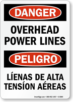 Bilingual Hazardous Voltage Power Lines Overhead Sign