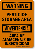 Bilingual Pesticide Storage Area Sign