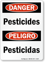 Bilingual Danger Pesticides Sign