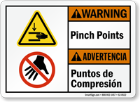 Pinch Points Puntos De Compresion Bilingual Warning Sign