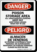 Bilingual Poison Storage Area Sign