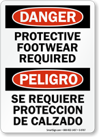 Bilingual Protective Footwear Required Danger Sign