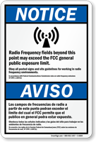 Bilingual Radio Frequency ANSI Notice Sign