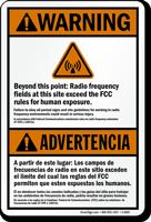 Bilingual Radio Frequency Warning Sign