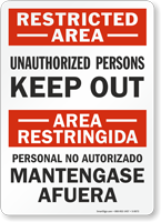 Restricted Area Restringida Unauthorized Persons Sign