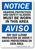 Notice Hearing Protection; Safety Glasses Sign; Bilingual