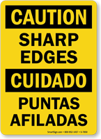 Bilingual Sharp Edges OSHA Caution Sign