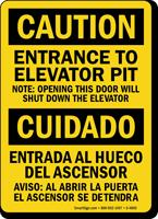 Entrance To Elevator Pit Bilingual Sign