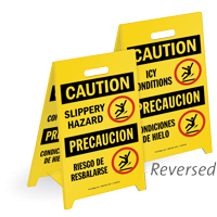Bilingual Slippery Hazard Icy Conditions Standing Floor Sign
