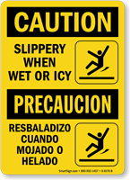 Slippery When Wet Or Icy Bilingual Caution Sign