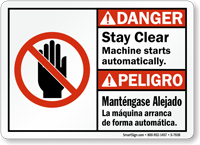 Bilingual Stay Clear Machine Starts Automatically Sign