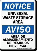 Bilingual Universal Waste Storage Area Notice Sign