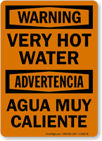 Very Hot Water, Agua Muy Caliente Bilingual Sign