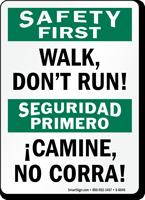 Bilingual Walk Don'T Run Sign