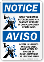 Bilingual: Wash Your Hands Before Leaving Sign