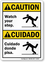 Bilingual Watch Your Step, Cuidado Donde Pisa Sign