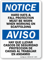 Bilingual Wear Hard Hats And Fall Protection Sign