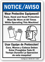 Bilingual Wear Protective Equipment Sign