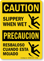 Bilingual Slippery When Wet Sign With Graphic Sku S